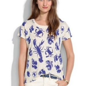 Madewell 100% linen tee with lobsters and crabs S